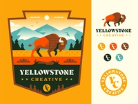 Yellowstone Creative mountains nature outdoors explore parks national yellowstone buffalo patch logo badge illustration
