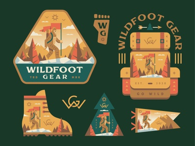 Wildfoot Gear backpack hiking explore outdoors patch badges illustration bigfoot sasquatch