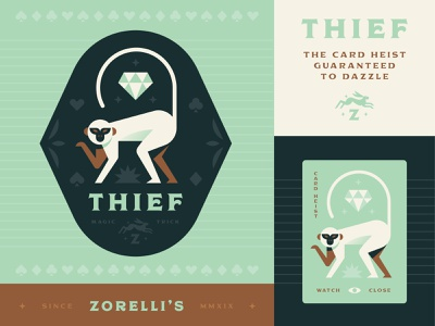 Thief branding logo illustration badge monkey thief magic