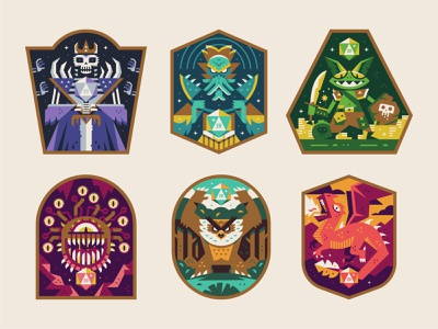 D&D Badges adventure mindflayer beholder skeleton goblin bear creatures monsters dragons dungeons illustration badge