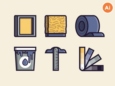 Screen-Printing Icon Freebies ink squeegee tools screen-printing print illustrations icons freebies vector free