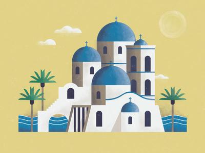 Greek Isles Church waves building architecture scene landscape illustration sea ocean islands greek greece church