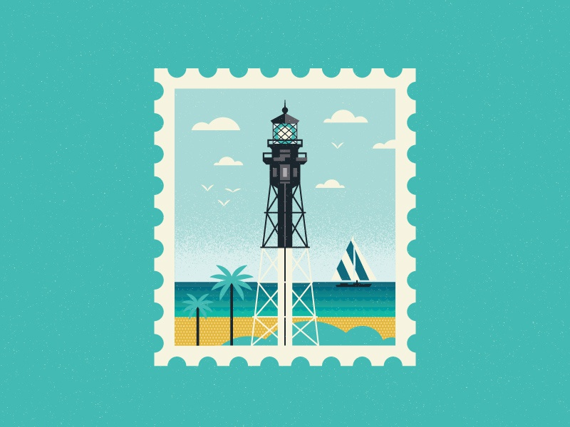 Lighthouse palms illustration explore travel beach ocean sailboat lighthouse stamp