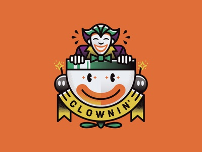 Clownin' villain bomb mario bowser traditional banner illustration tattoo clown joker
