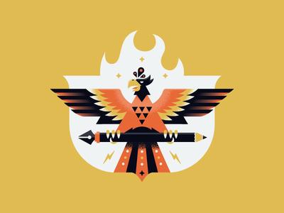 Phoenix bird animal creature badge crest illustration flame fire wings firebird phoenix