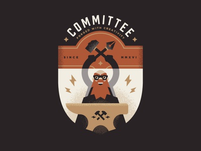 Committee illustration lightning anvil forge hammer crest logo badge committee blacksmith