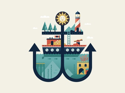 AnchorTown fish boat lighthouse city village sea coastal nautical illustration town anchor