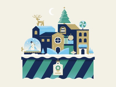 Winter Wonderland reindeer snowman tree holiday christmas illustration vector village town wonderland winter