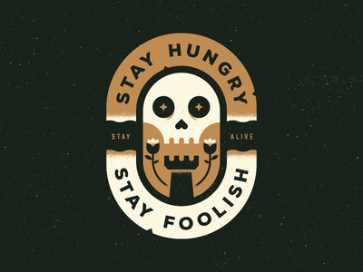 Stay Hungry vintage patch hungry flower rose rook death skull logo badge