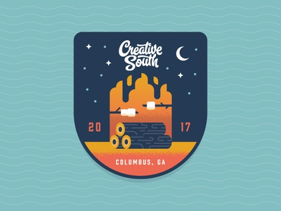 CS17 Patch illustration outdoors explore campfire southern badge patch family