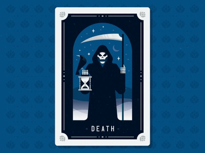 Time's Up scythe raven hops card skull reaper grim illustration tarot death