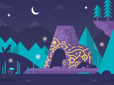 Night Shrine outdoors mountains wild landscape scene illustration night shrine zelda botw