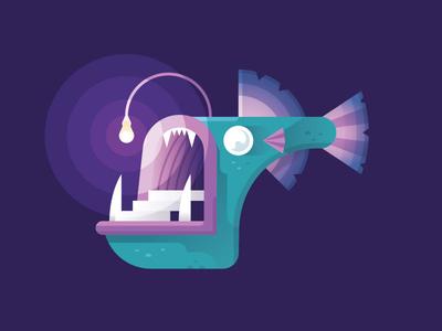 Angler Fish underwater ocean light lurker deep gillustrations fish angler