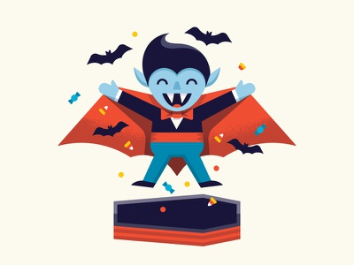 Drac's Back! kids fun october holiday candy bats illustration character teen dracula halloween