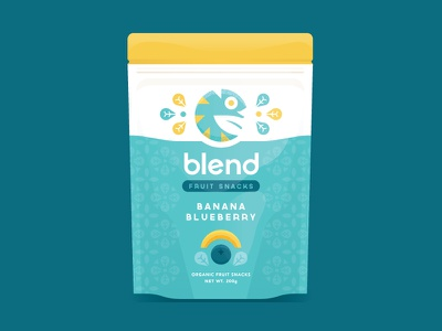 Blend Fruit Snacks organic food illustration packaging mockup blueberry banana snacks fruit