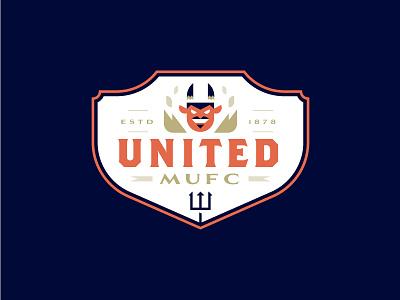 MUFC jersey sport team crest illustration badge pitchfork devils united manchester football soccer