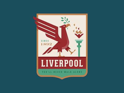 Liverpool FC fire illustration logo football england bird crest badge soccer liverpool