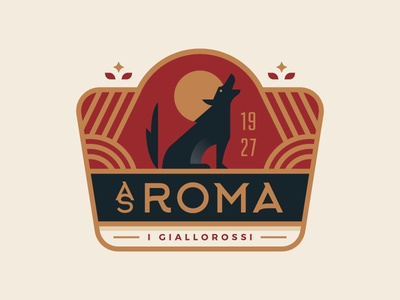 AS Roma vintage rome italy illustration logo crest badge soccer wolf