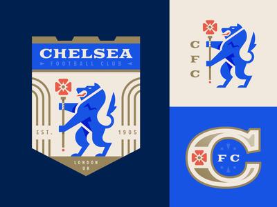 Chelsea FC branding london england lion illustration logo football crest badge soccer