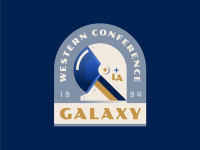Soccernaut sports soccer mls galaxy la logo badge space astronaut
