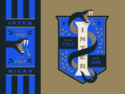 Inter Milan shield sports snake illustration logo badge crest soccer italy milan inter