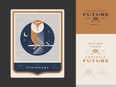 Visionary vision icon logo illustration owl psychic future cards soccer tarot