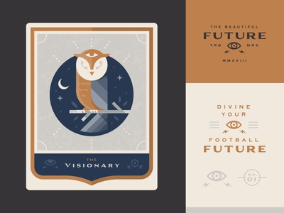 Visionary vision icon logo illustration owl psychic future cards soccer tarot