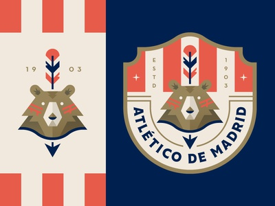 Atletico Madrid shield madrid logo badge spain crest soccer illustration bear indian feather arrow
