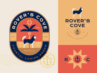 Rover's Cove anchor ocean sun tropical coastal beach badge illustration logo branding pet dog