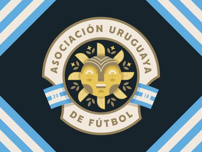 Uruguay crest worldcup uruguay flag logo badge soccer illustration sun