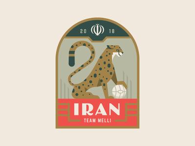 Iran cat cheetah sports cup world crest illustration logo badge soccer iran