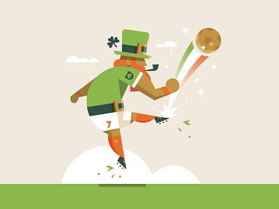 Goooooold rainbow lucky character sports ireland illustration magic soccer patrick leprechaun