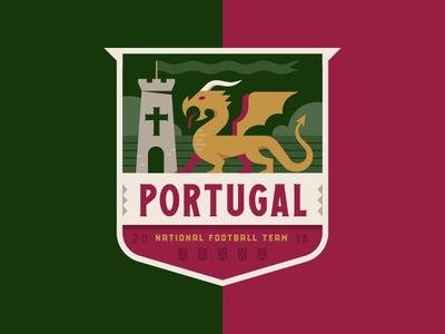 Portugal football castle dragon illustration logo crest badge soccer cup world portugal