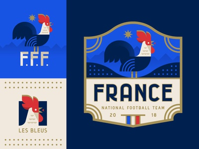 Les Bleus bird icon rooster illustration logo crest badge football soccer world cup france
