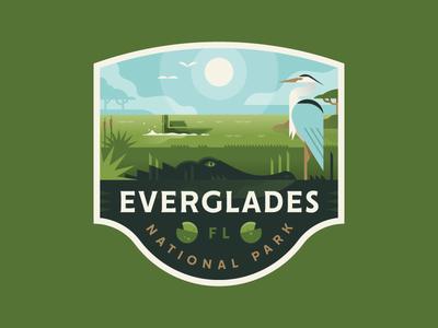 Everglades national park everglades florida swamp alligator wildlife heron bird badge illustration