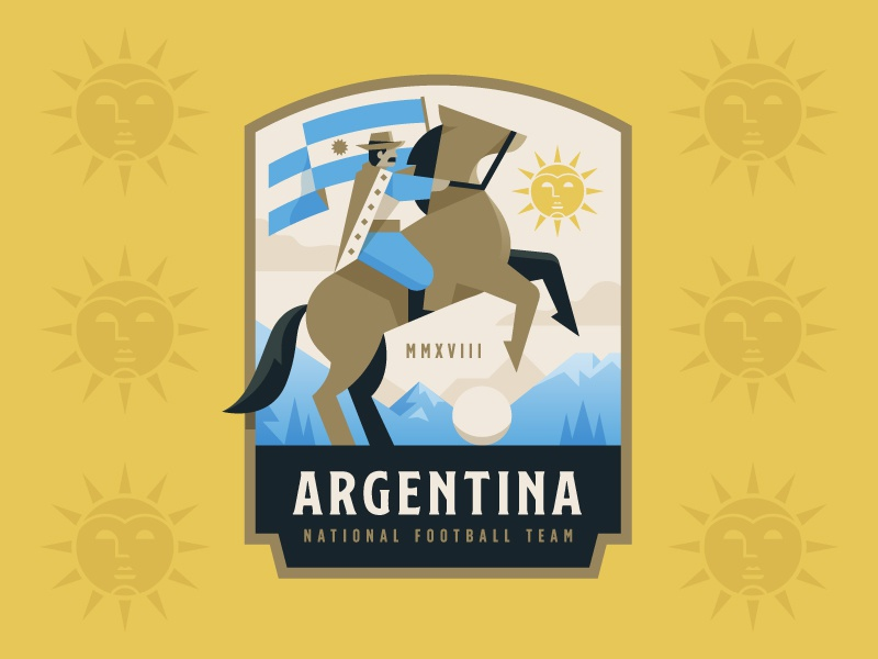 Argentina illustration crest logo badge football soccer cup world cowboy gaucho argentina