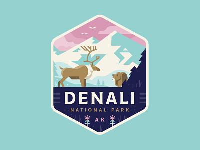 Denali mountains caribou bear nature denali alaska illustration logo badge park national
