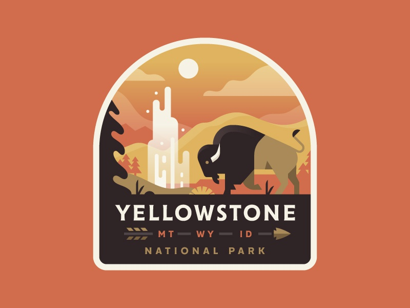 Yellowstone national park badge logo illustration yellowstone nature bison buffalo geyser