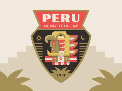 Peru soccer cup world illustration crest badge shield warrior peru inca