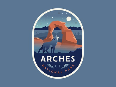 Arches coyote utah desert nature arches illustration logo badge park national