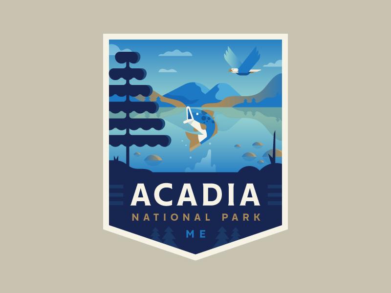 Acadia acadia national park explore badge logo illustration fish eagle outdoors nature