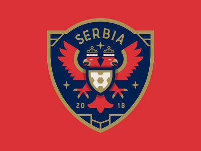 Serbia shield eagle illustration logo badge sports cup world serbia crest soccer football