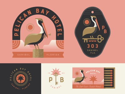 Pelican Bay pelican bay ocean island gulf branding badge logo illustration coast key florida