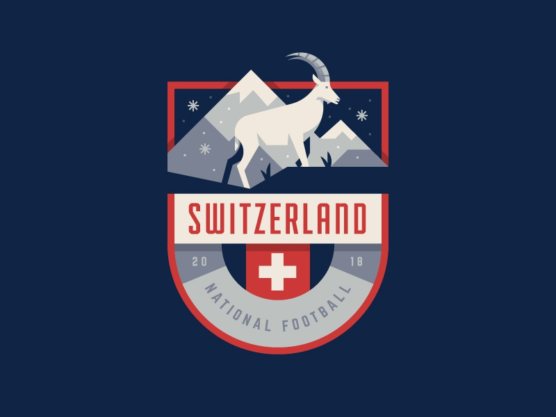 Switzerland ibex crest cup world soccer illustration logo badge switzerland swiss