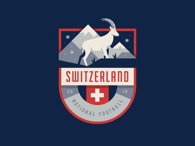 Switzerland ibex crest cup world soccer illustration logo badge switzerland swiss