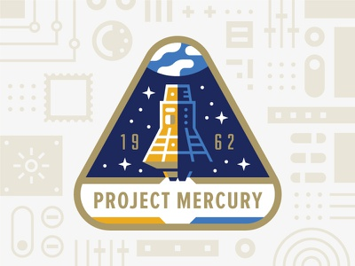 Project Mercury stamps usps illustration badge mission patch nasa space mercury project