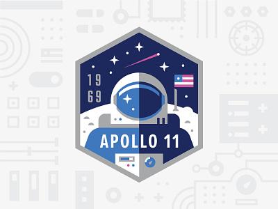 Apollo 11 apollo11 moon space astronaut logo badge patch usps nasa illustration