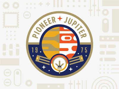 Pioneer Jupiter logo usps illustration badge patch mission planet jupiter pioneer nasa space