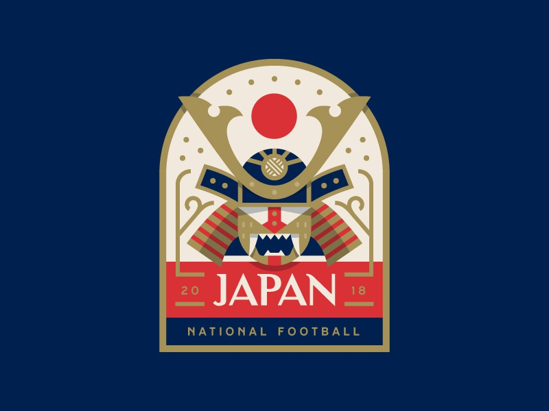 Japan illustration logo warrior samurai japan football soccer cup world badge
