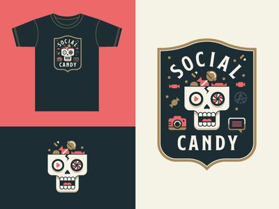 Social Candy social candy badge crest skull logo illustration t-shirt shield